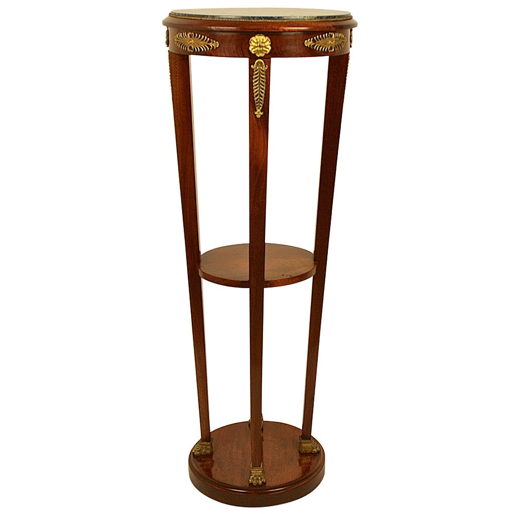 A French 19th Century Mahogany and Gilt-Bronze Tall Gueridon/ Pedestal