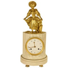 "Louis XVI Ormolu/Marble Column "" La Danseuse"" Clock signed 'Courvoisier a Paris"