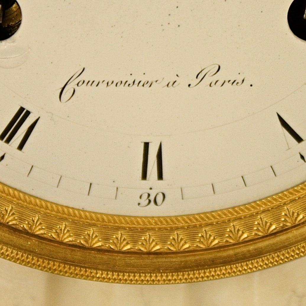 louis xvi ormolu marble column la danseuse clock signed 39 courvoisier a paris for sale at 1stdibs. Black Bedroom Furniture Sets. Home Design Ideas