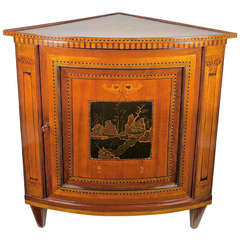 An 18th Century Louis XVI  Marquetry and Lacquer Corner Cabinet or 'Encognure'