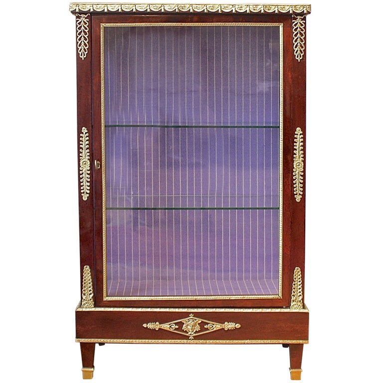 French Mahogany Ormolu-Mounted Louis XVI Style Display Cabinet For Sale