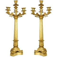 Pair of Charles X Gilt Bronze, Four-Light Candelabras