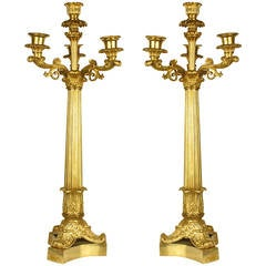 Pair of Charles X Gilt Bronze, Four-Light Candelabras
