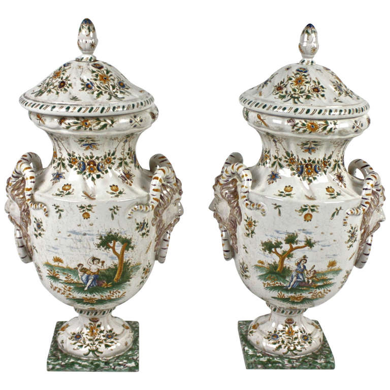 Pair of Faience Vases with Cover, Olérys and Laugier's Pottery Factory, Moustiers For Sale