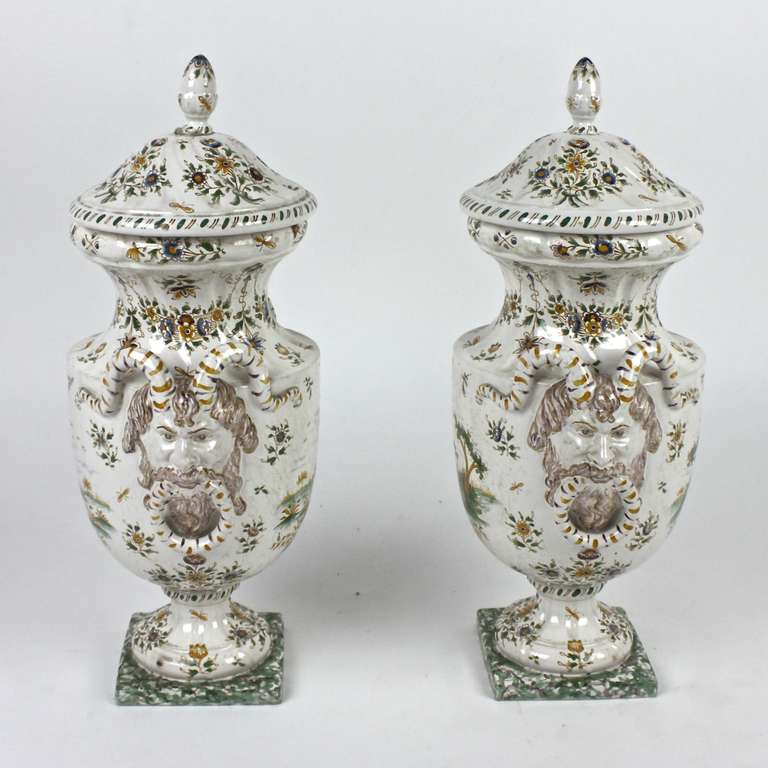 18th Century and Earlier Pair of Faience Vases with Cover, Olérys and Laugier's Pottery Factory, Moustiers For Sale
