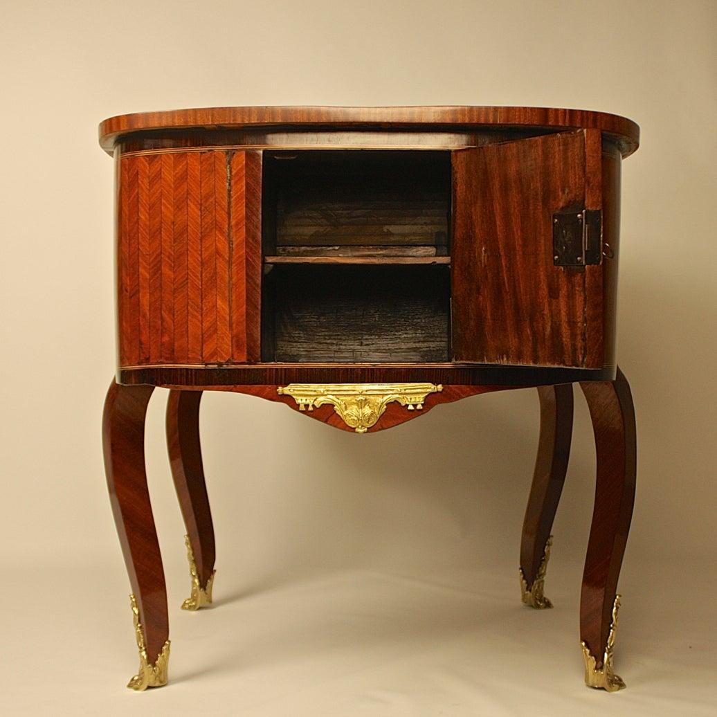 Gilt 18th Century Louis XV Kingwood, Amaranth and Parquetry Bonheur du Jour or Desk For Sale