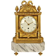 French Restauration Mantel Clock Signed 'Galle'