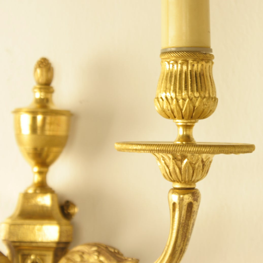 Pair of Louis XVI Style Gilt Bronze Wall Lights at 1stdibs