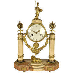 Late 18th Century Marble and Gilt-Bronze Mantle Clock Representing Pallas Athena