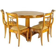 Early 19th Century Biedermeier Table with Four Side Chairs, Newly Upholstered