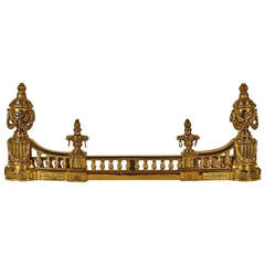 French Louis XVI Style Gilt-Bronze Chenets/ Andirons with Fire Bar
