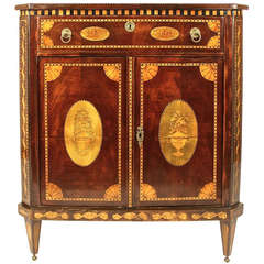 Small Dutch Neoclassical Mahagony and Fruitwood Cabinet