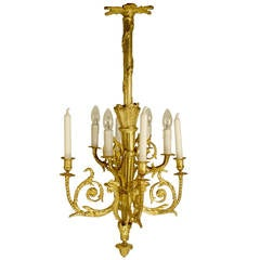 French 19th Century Gilt Bronze Chandelier in the Manner of Pierre Gouthiere