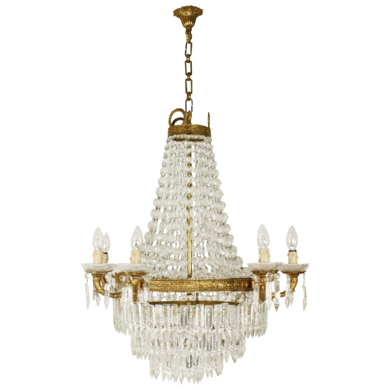 Empire Style Eight Light Baccarat Crystal Chandelier
