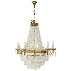 Empire Style Eight-Light Baccarat Crystal Chandelier, Early 20th Century