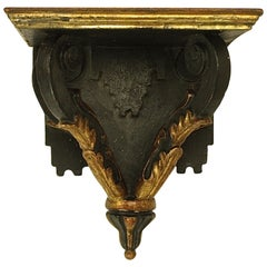 18th Century Regence Giltwood and Black Painted Wall Bracket
