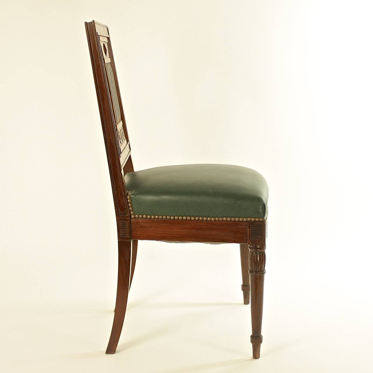 Leather Pair of Early 19th Century Chairs, in the manner of Bellange frere, circa 1810 For Sale