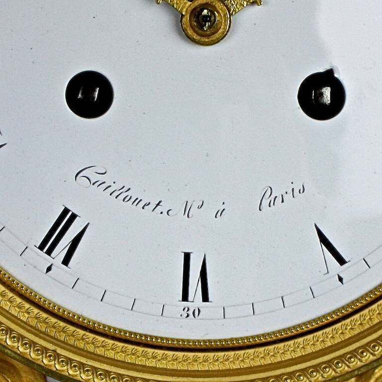 Carrara Marble Late 18th Century Louis XVI white Marble and Ormolu Mounted Mantel Clock For Sale
