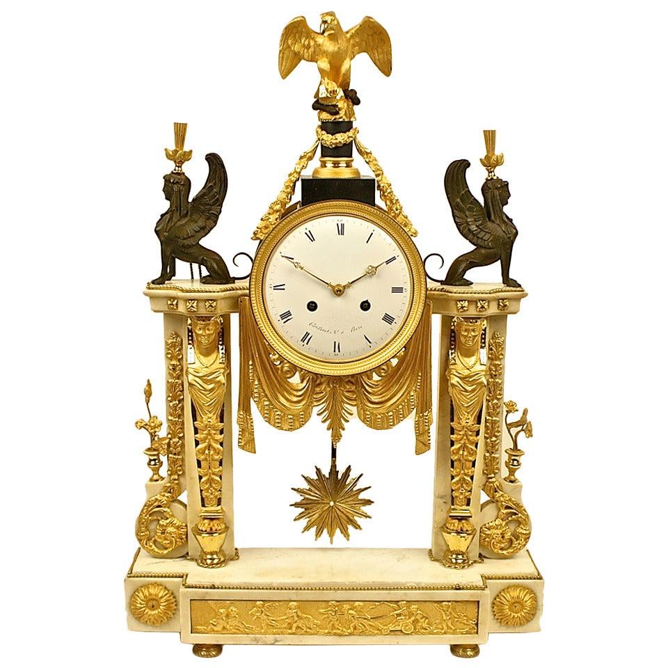 Late 18th Century Louis XVI white Marble and Ormolu Mounted Mantel Clock