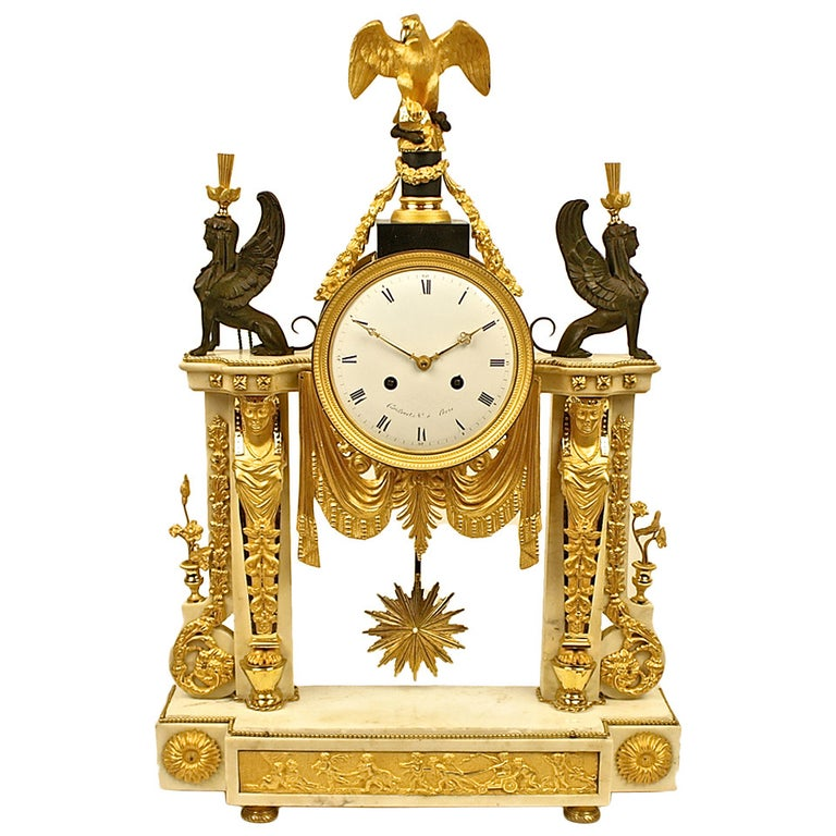 Late 18th Century Louis XVI white Marble and Ormolu Mounted Mantel Clock For Sale