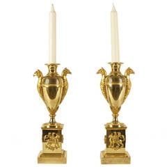 Pair of Empire Gilt-Bronze Vase-Shaped Candlesticks, circa 1800