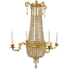 Swedish Ormolu Cut-Crystal Chandelier, First Quarter of the 19th Century