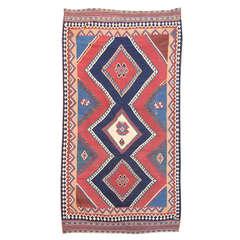 Late 19th Century Red and Blue Persian Qashqai Kilim Rug