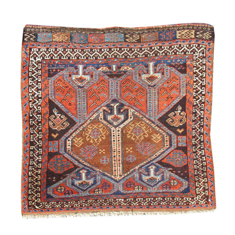 Late 19th Century Red and Blue Persian Afshar Bagface with Paisleys
