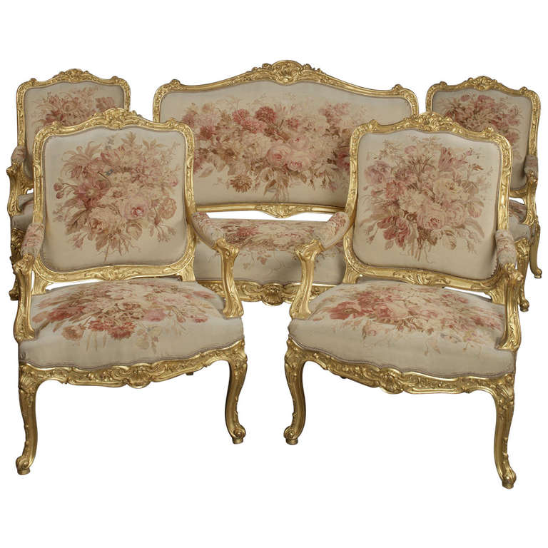 A fine louis xv style giltwood salon suite at 1stdibs for Salon louis xv