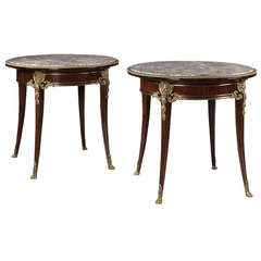 Pair of Gilt-Bronze Mounted Salon Tables by Christian Krass, French, circa 1900