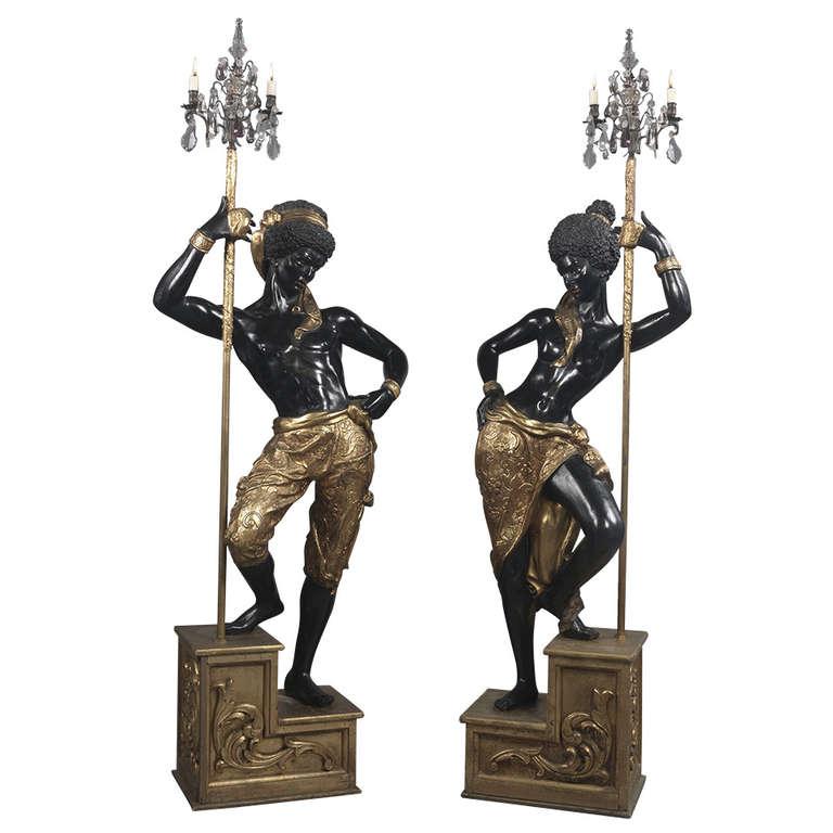 Pair of Italian Blackamoor Figures For Sale