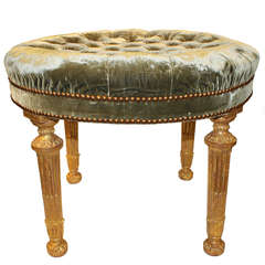 English Palladian Four-Legged Circular Neoclassical Bench