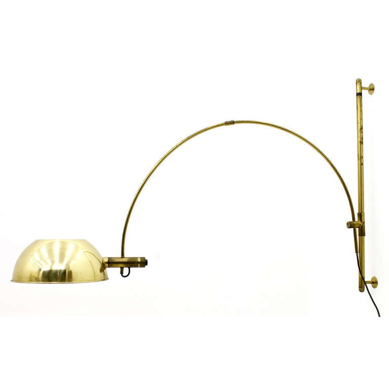 Rare Wall mounted Adjustable Arc Lamp by Florian Schulz, Germany at 1stdibs