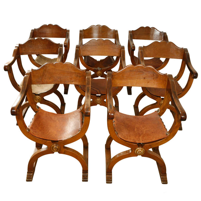Set of 8 Walnut Florentine Dining Chairs, 19th Century Italian For Sale