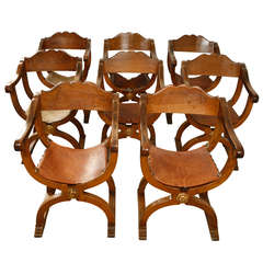 Set of 8 Walnut Florentine Dining Chairs, 19th Century Italian