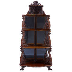 19th Century Carved Mahogany Victorian Whatnot