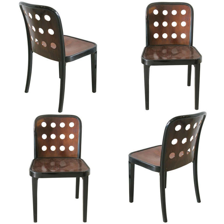 Four Josef Hoffmann Chairs, # 811, With Perforated Back For Sale