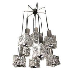 Three-Tier Kinkeldey Crystal Chandelier Pendant Light Chrome Lamps