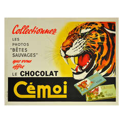 Original Vintage Advertising Poster for French Chocolate Cemoi, Featuring a Roaring Tiger