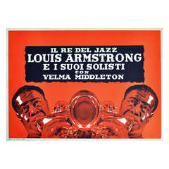 Very Rare Original Vintage Advertising Poster for a Louis Armstrong and Velma Middleton Jazz Concert in Milan