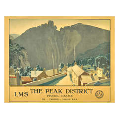 "Original Vintage LMS Railway Poster ""The Peak District"" Featuring Peveril Castle"