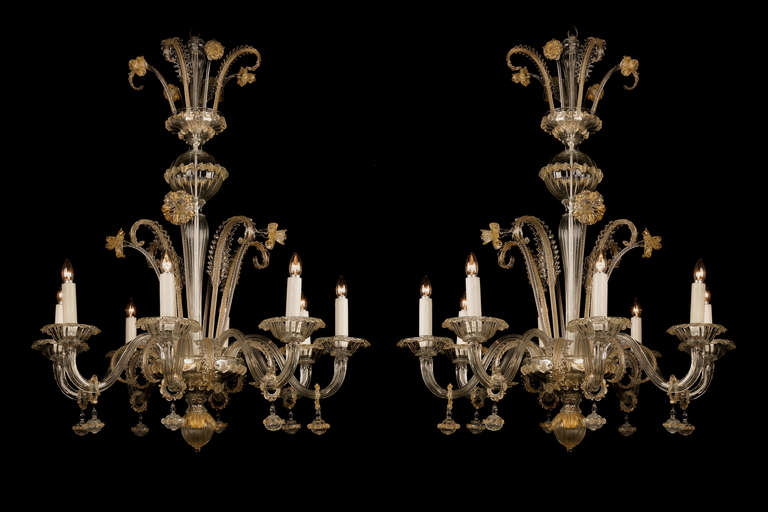 Pair of antique venetian chandeliers for sale at 1stdibs a fine pair of venetian clear glass and gilt decorated eight light chandeliers each aloadofball Gallery