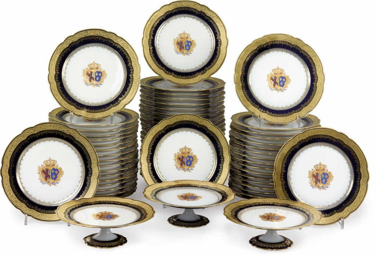 An important 63-piece dinner service by pillivuyt et Cie. Presented by La Préfecture du Berry to Amélie, Princess of Orléans on her marriage to the future King Carlos of Portugal.  French, circa 1886.  Signed in cursive script in gold to the