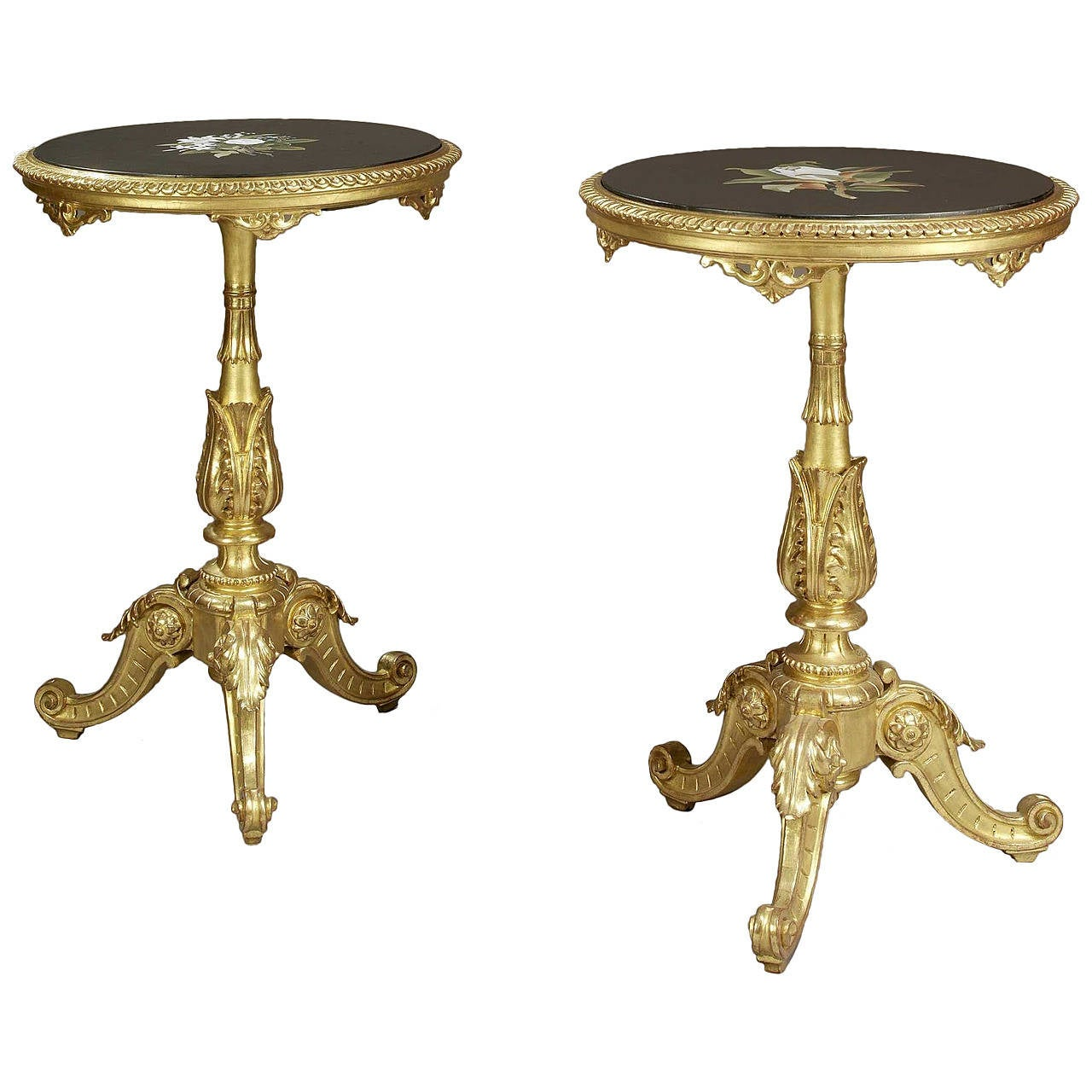 Pair of Rococo Style Giltwood Gueridons with Pietre Dure Tops, circa 1880 For Sale