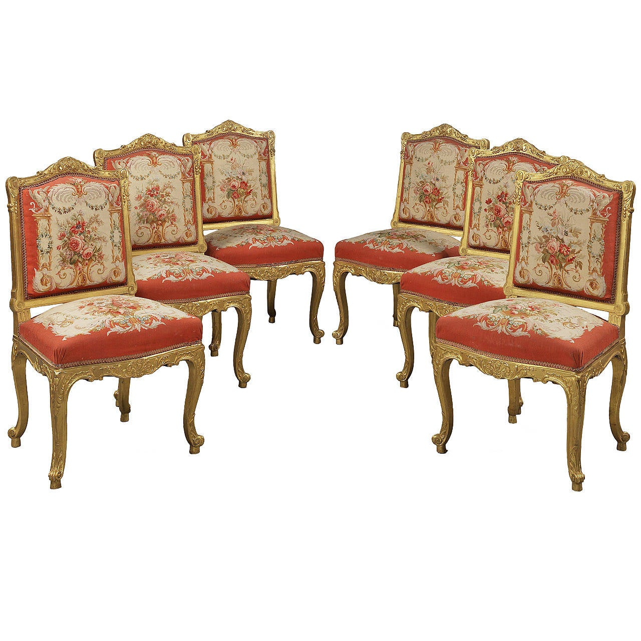 Set of 6 Giltwood and Tapestry Side Chairs, French, circa 1890