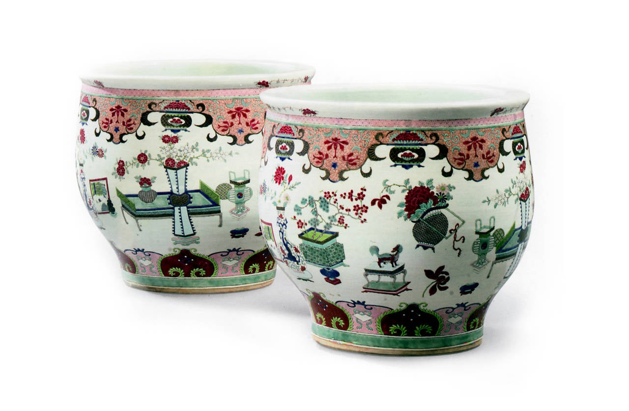 Pair Of Porcelain Fish Bowls Attributed To Samson For