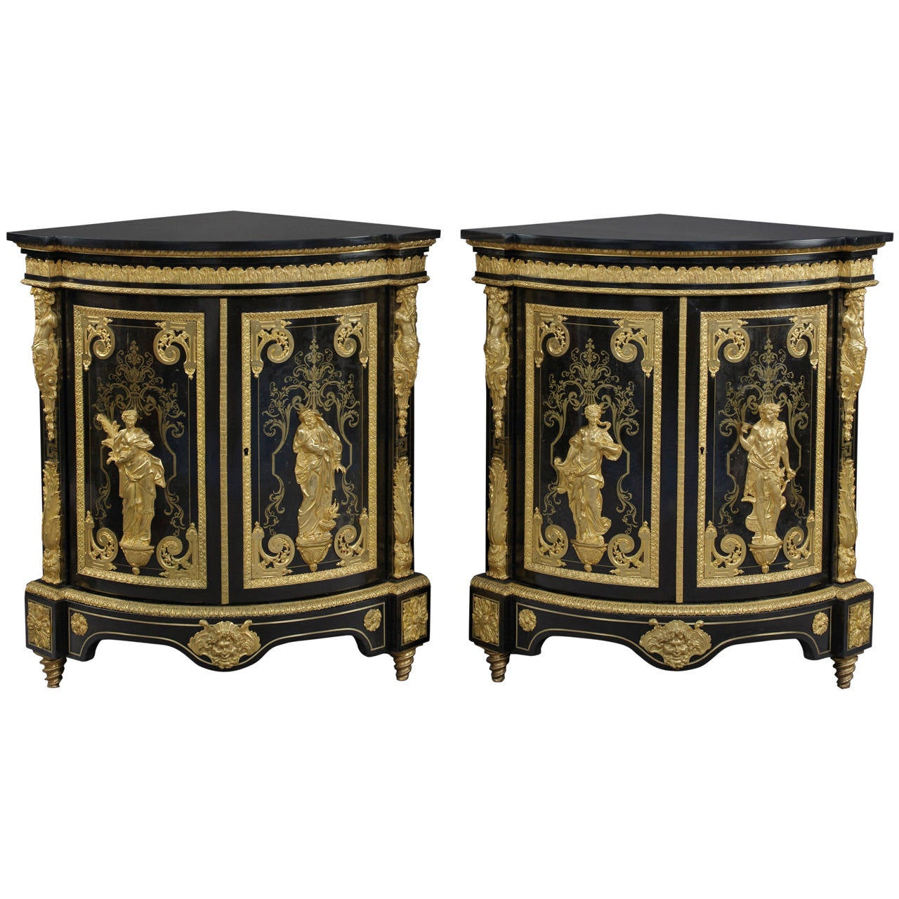 Fine Pair of Boulle Marquetry Inlaid Corner Cabinets by Béfort Jeune