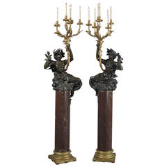 Pair of Patinated Bronze Figural Candelabra