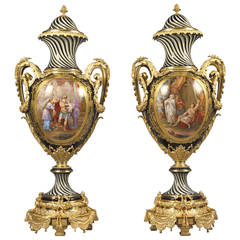 Pair of Sèvres Style Porcelain Vases, French, circa 1880