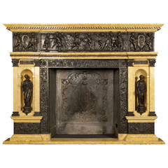 Patinated Bronze and Marble Fireplace of Palatial Proportions, circa 1850